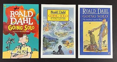 3 x ROALD DAHL POSTCARDS Book Covers GOING SOLO Lot QUENTIN BLAKE Set