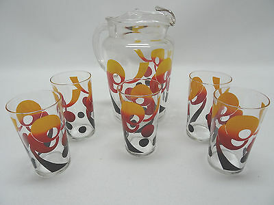 Ice Tea Lemonade Pitcher And 5 Glasses With Funky Retro Design Vintage
