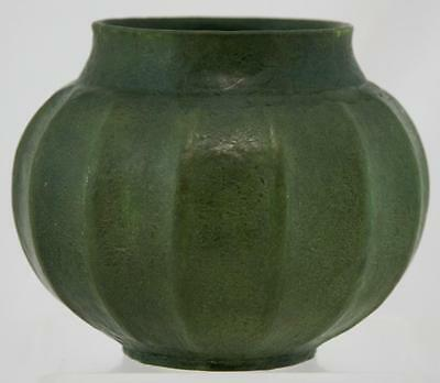 "Grueby 5.75"" Fluted Vase In Organic Thick Matte Green Curdled Glaze Factory Mint"