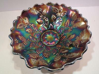 Stunning HOLLY Fenton Purple Blue Carnival Bowl ~ Ruffled Bracket - edge Bowl