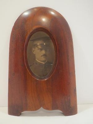 Rare Antique Unusual Wood Picture Frame WWl B & W Photo of Officer USR Badge