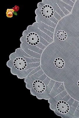 Vintage Embroidered Eyelet Lace Doily Floral Square White Cotton Scallop