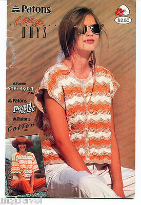 Patons Knitting Patterns Small Booklet - Lazy Days