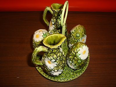 Inarco White And Green Daisy Daisies Salt Pepper Vinegar Oil And Jelly Jar