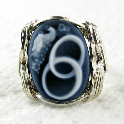 Black Agate Oval Stone Cameo Ring .925 Sterling Silver Jewelry Any Size 1.58 CT