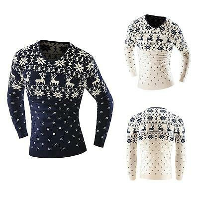 Merry Christmas Men V-Neck Sweater Xmas Long Sleeve Reindeer Snowflake Pullover