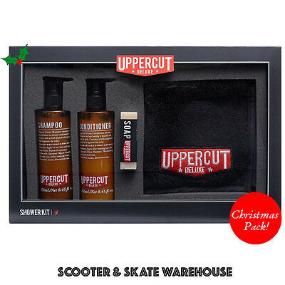 UPPERCUT Deluxe Mens Shower Kit - Shampoo + Hair Conditioner + Soap + Face Towel