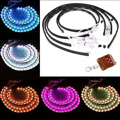 "7 Color RGB LED Strips Underbody Car Neon Lights Kit Remote 36""*2 & 48""*2 M5S7"
