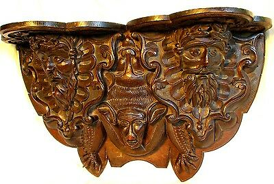 HUGE CARVED GOTHIC WALL SHELF *BLACK FOREST* w BEARDED FACES & A BAT *ANTIQUE c.