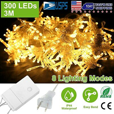 9.8ftx9.8ft 300LED Christmas String Fairy Wedding Curtain Lights Warm White