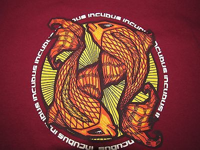 INCUBUS concert tee 2001 tour Maroon adult size Medium t-shirt DECAL SALE price