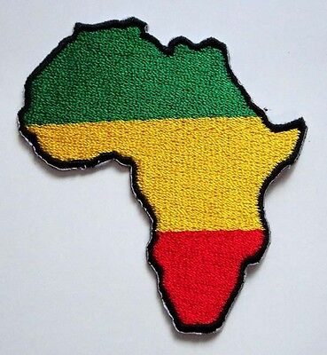 Africa Map Rasta Rastafari Embroidered Iron on Patch Free Shipping