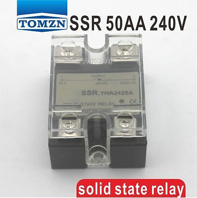 50AA SSR input 90-250V AC load 12-240V AC single phase AC solid state relay