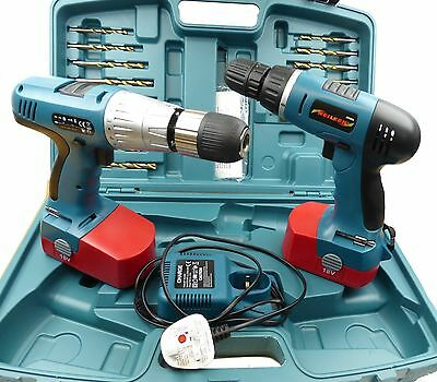 Neilsen 18V Twin 2 Cordless Hammer Impact Driver / Drill 2 x batteries charger