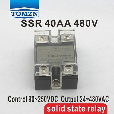40AA SSR input 90-250V AC load 24-480V AC single phase AC solid state relay