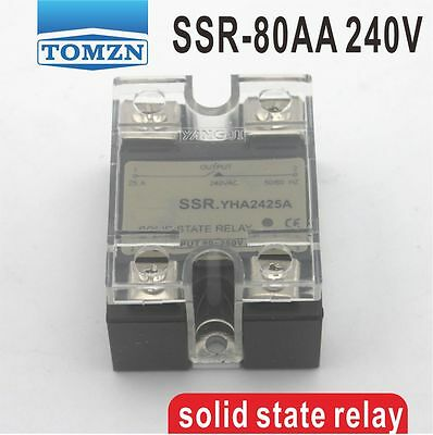 80AA SSR input 90-250V AC load 12-240V AC single phase AC solid state relay