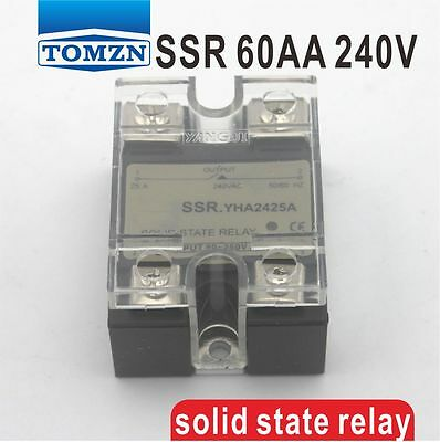 60AA SSR input 90-250V AC load 12-240V AC single phase AC solid state relay