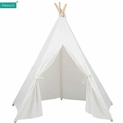 Kids Teepee Tipi Tepe Play Tents Indian Playhouse with 5 Wooden Poles 145cm