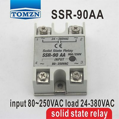 90AA SSR input 80~250VAC load 24-380VAC single phase AC solid state relay