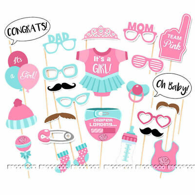 UK 25PCS Baby Shower Photo Booth Props Little Lady Girl New Born Party in Pink