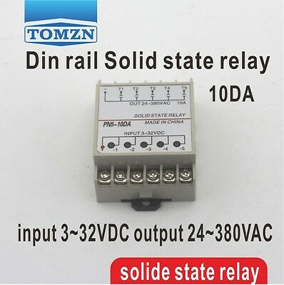 10DA 5 Channel Din rail SSR input 3~32VDC output 24~380VAC solid state relay