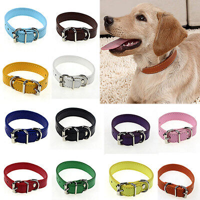 Adjustable Safety Belt Cow PU Leather Pet Dog Cat Puppy Collar Buckle Neck Strap