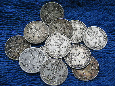 Ww I King George V Solid Silver 1918 Three Pence Very Collectable Free Uk Post