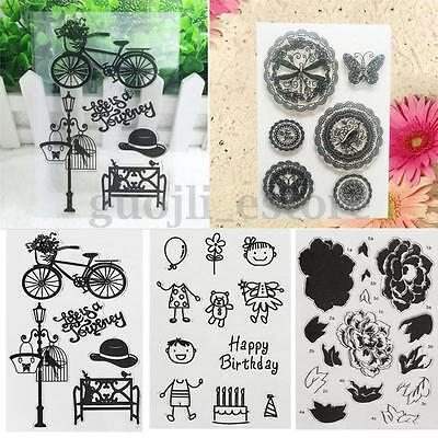 Clear Rubber Stamp Seal Sheet Set Scrapbooking Transparent Diary Card Craft