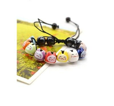 Ceramic Lucky Cat Neko Adjustable  Bracelet **UK SELLER**