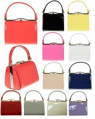 New Small Hard Compact Metallic Trim Neon Colours Patent Leather Clutch Bag