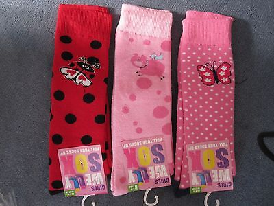 BNWT- 3 PAIRS NOVELTY WELLY SOCKS - 6-8.5 and 9-12 (DES. 2) FREE POST UK ONLY