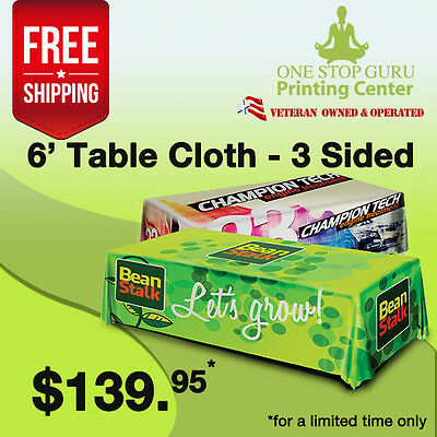 6ft Table Throws with Custom Dye-sublimation Full Color Printing Rounded Corners