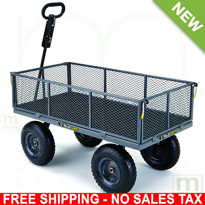 Steel Yard Cart Utility Wagon Garden Tractor Lawn 4 Wheeled Gorilla Carts 6cu Ft