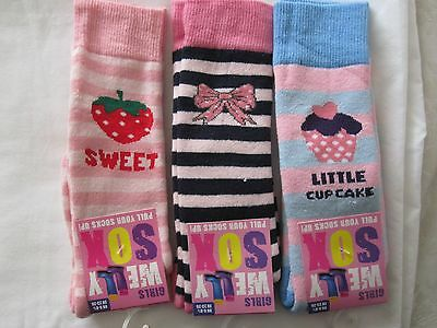 BNWT- 3 PAIRS NOVELTY WELLY SOCKS - 6-8.5 and 9-12 (DES. 4) FREE POST UK ONLY