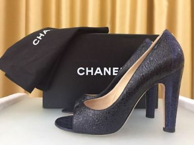 b88ef0f2a7cd NEW CHANEL Peep Toe Shoes Dark Navy Black Leather Pump Cork Lining SiZe EU39