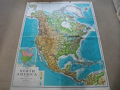 Vintage 1970s Philips Cloth Backed School Wall Map North America 46in x 60in