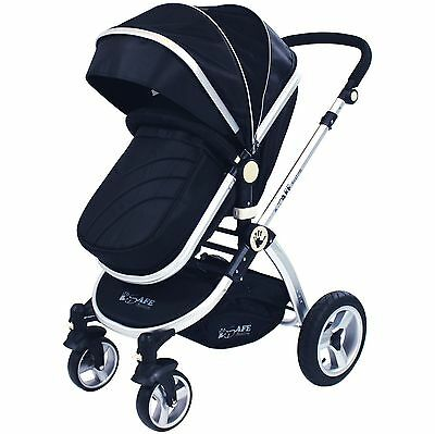iSafe Baby Pram System 2 in 1 Complete - Black & rain cover