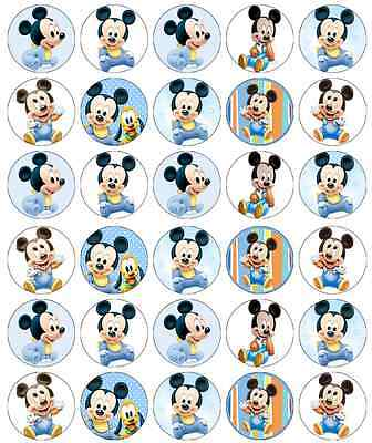 30x Mickey Mouse Cupcake Toppers Edible Wafer Paper Fairy Cake Toppers