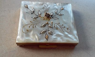 Powder Compact Mother Of Pearl Ornate Silver Gold - Excellant Condition