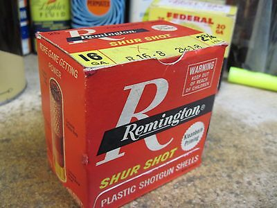 REMINGTON SHUR SHOT empty 16 GA 2 3/4 IN SHOTGUN SHELLS shot shell RED box