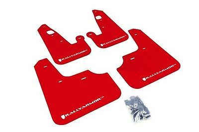 Rally Armor Red Mud Flap w/ White Logo For 2007+ Mitsubishi Lancer