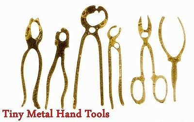 NEW MINIATURE 6 Pc FLAT FINE METAL HAND TOOLS for FAIRY GARDEN or DOLLHOUSE 1:12
