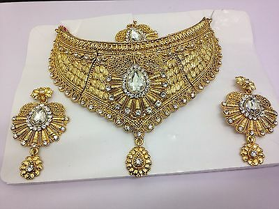 New Indian Bollywood Costume Jewellery Necklace Earring Set Gold Bridal Party