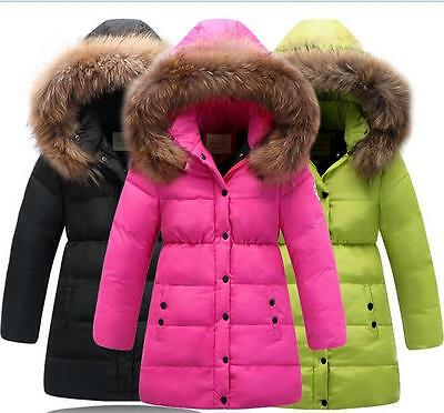Winter Kids Girls Thicken Down Fur collar Hooded Coat Jacket 4 Color size 3-12Y