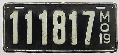 Missouri 1919 License Plate NICE QUALITY # 111817