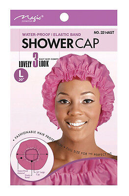 """Magic Collection Shower Cap With Elastic Band L 20"""" *In Different Colours* #2214"""