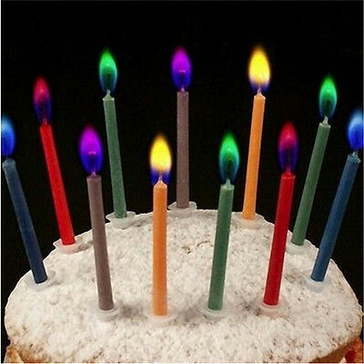 6pcs/12pcs Fashion Colored Candles Safe Flames Party Birthday Cake DecorationsHU