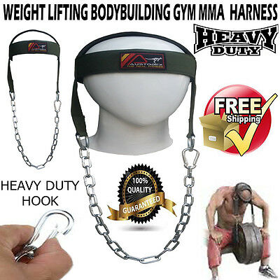 Austodex Bodybuilding Weight Lifting Gym Mma Fitness Head Neck Harness Bar Strap