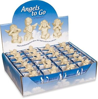 AngelStar Angels to Go Display Blessings 24 Cherubs & Blue Gift Bags