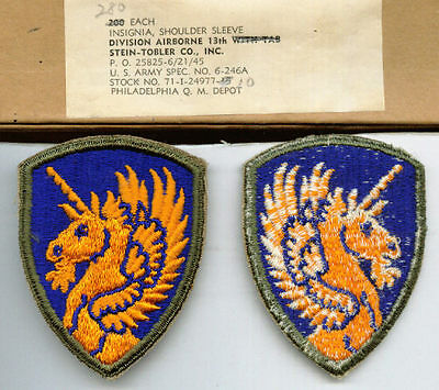 13th AIRBORNE DIVISION PATCH FULL COLOR BUNDLE OF 20 PATCHES WW2 ORIGINAL